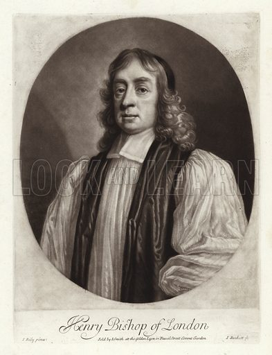 Henry Compton, Bishop of London, with long hair, wearing a cap and episcopal robes. From a portrait by John Riley, engraved by Isaac Beckett, circa 1685.