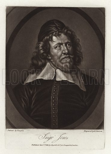 Inigo Jones, British architect, head turned and looking slightly up and to right, wearing cap and wide collar. From a portrait, dated 1636, by Sir Anthony van Dyck, engraved by Richard Earlom. Published on 2 September 1811, by Boydell & Co 90, Cheapside, London.