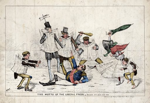 The Motto of the Liberal Press – 'Because he's down kick him', showing Napoleon III laying on the ground, being assaulted by figures representing the newspapers of the British press, 1870. Published by G Stretton, 1 Wych Street, Strand, London.