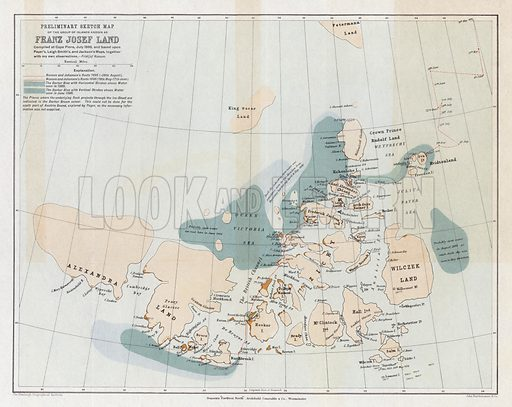 Preliminary sketch map of the group of islands known as Franz Josef Land, by John George Bartholomew, circa 1897. For the Edinburgh Geographical Institute, published by John Bartholomew & Co.
