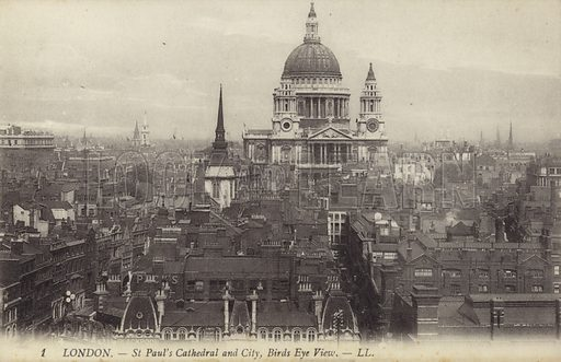 St Paul's Cathedral and City, Birds Eye View of London.