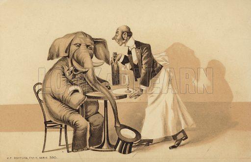 Waiter serves an elephant. Humorous postcard published by K F Editeurs, Paris.