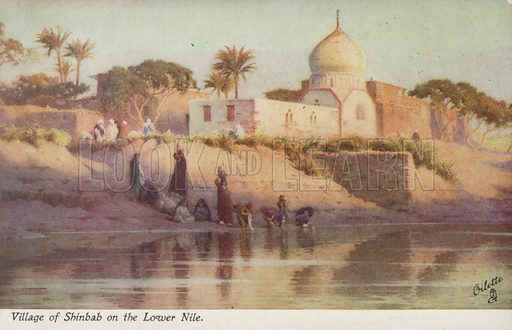 Village of the Shinbab on the Lower Nile. Illustration by R Talbot Kelly. Oilette postcard produced by Raphael Tuck & Sons, circa early twentieth century.