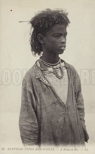 A Bisharin Boy – Egyptian Types and Scenes. Postcard published by LL, circa early twentieth century.