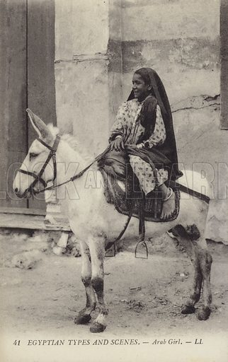 Arab girl riding a donkey. Egyptain Types and Scenes. Postcard published by LL, circa early twentieth century.
