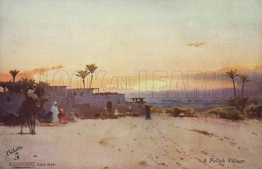A Fellah Village. Illustration by R Talbot Kelly, dated 1896. Oilette postcard produced by Raphael Tuck & Sons, circa early twentieth century.
