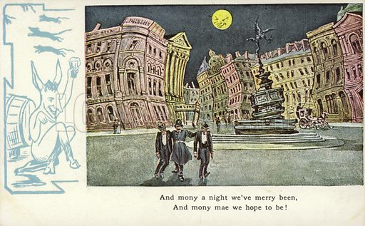 And mony a night we've merry been, And mony mae we hope to be! Postcard dating from around the early twentieth century or late nineteenth century.