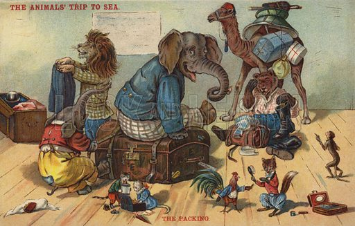 The Packing – The Animals' Trip to Sea. Postcard, circa early twentieth century.