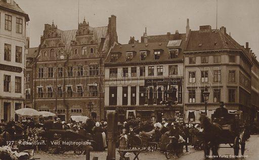 Højbro Plads, Copenhagen. Postcard, circa late nineteenth century or early twentieth century.