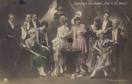 Scene from the ballet 'Flirting in St Moritz'. Ice ballet show which starred German ice ballerina Charlotte Oelschlagel and was staged in New York in 1915. Women are dressed in a similar style to the flappers of the 1920s. German postcard from the early twentieth century.
