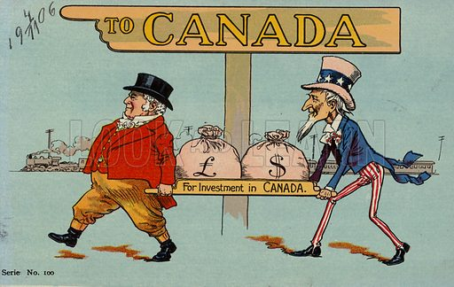 To Canada. Cartoon showing American and English man carrying money bags 'For Investment in Canada'. Postcard from the early twentieth century.
