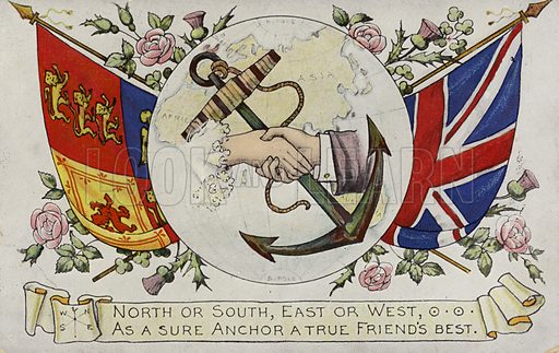 North or South, East or West, As a Sure Anchor a True Friend's Best. British postcard, circa late nineteenth century.