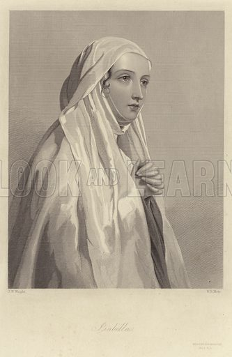 Isabella, a character in Measure for Measure, by William Shakespeare. After John William Wright, engraved by W H Mote. Published in The Heroines of Shakespeare: comprising the Principle Female Characters in the plays of the Great Poet; published by the London Printing and Publishing Company Limited, London and New York.