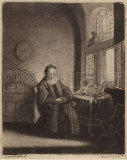 An elderly bearded philosopher sitting at a desk in front of a window. After Rembrandt; engraved by Spooner.