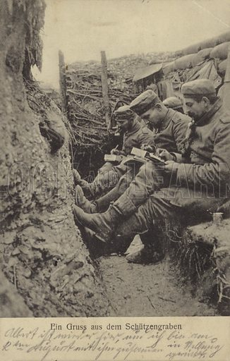Greetings from the trenches. German soldiers writing letters home during World War I, 1915.
