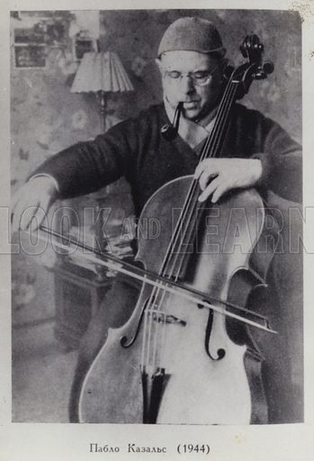Catalan cellist and conductor Pablo Casals (1876-1973), 1944.