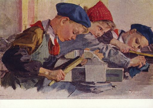 For a Clean Workplace. Soviet Pioneer children in a woodwork class, 1962.