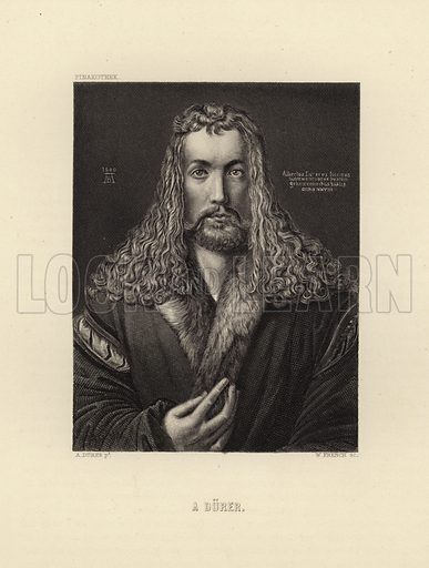 Albrecht Durer. German painter, engraver, printmaker, mathematician, and theorist (21 May 1471 – 6 April 1528). Engraving by W French after original self portrait by Durer. Illustration for Deutschlands Kunstschatze by Alfred Woltmann and Bruno Meyer (A H Payne, 1872).