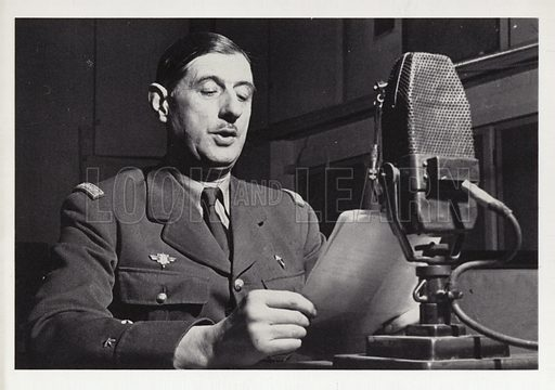 Charles de Gaulle (1890-1970). French general and statesman broadcasting on the BBC.