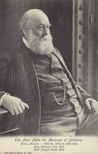 Marquess of Salisbury (1830–1903). Three times Prime Minister of Britain.