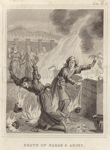 Death of Nadab and Abihu. Illustration for A New Family Bible (Caxton Press, c 1850).