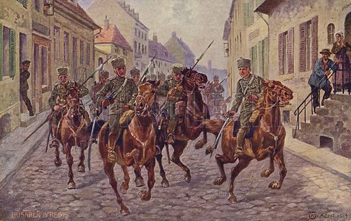 Temporary seizure of the city of Reims by German hussars, World War I, 9 September 1914.