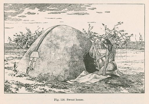 Sweat house. Illustration for Ceremonial of Hasjelti Dailjis and Mythical Sand Painting of the Navajos Indians, an article by James Stevenson. From the Eighth Annual Report of the Bureau of Ethnology to the Secretary of the Smithsonian Institution, 1886–87 by JW Powell, Director (Washington, Government Printing Office, 1891).