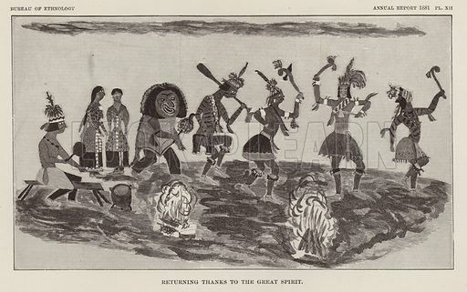 Returning Thanks to the Great Spirit. Illustration from an article on Myths of the Iroquois by Erminnie A Smith. From the Second Annual Report of the Bureau of Ethnology to the Secretary of the Smithsonian Institution, 1880–81 by JW Powell, Director (Washington, Government Printing Office, 1883).