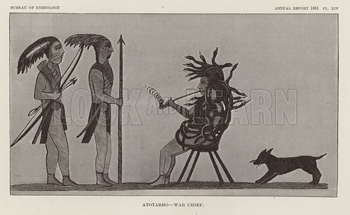 Atotarho - War Chief. Illustration from an article on Myths of the Iroquois by Erminnie A Smith. From the Second Annual Report of the Bureau of Ethnology to the Secretary of the Smithsonian Institution, 1880-81 by J W Powell, Director (Washington, Government Printing Office, 1883).