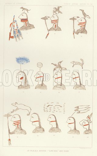 An Ogalala Roster - 'Low-Dog' and Band. Illustration from an article on Pictographs of the North American Indians, A Preliminary Paper by Garrick Mallery. From the Fourth Annual Report of the Bureau of Ethnology to the Secretary of the Smithsonian Institution, 1882-83 by J W Powell, Director (Washington, Government Printing Office, 1886).