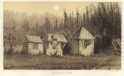 Burial houses. Illustration from A Further Contribution to the Study of Mortuary Customs of the North American Indians by Dr HC Yarrow, Act Asst Surg, USA From the First Annual Report of the Bureau of Ethnology to the Secretary of the Smithsonian Institution, 1879–80 by JW Powell, Director (Washington, Government Printing Office, 1881).