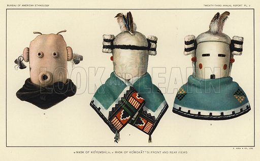 Mask of Koyemshi, Mask of Komokattsi: Front and rear views