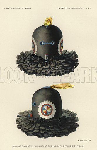 Mask of Salimobiya (warrior) of the nadir – front and side views