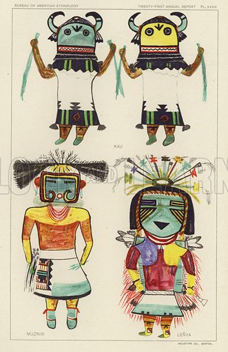 Kau, Muzribi, Lenya. Illustration for an article on Hopi Katcinas, Drawn by Native Artists by Jesse Walter Fawkes. From the Twenty-first Annual Report of the Bureau of Ethnology to the Secretary of the Smithsonian Institution, 1899-1900 by J W Powell, Director (Washington, Government Printing Office, 1903).