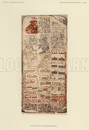 Plate LXII of the Dresden Codex. Illustration for an article on Mayan Calendar Systems II by Cyrus Thomas. From the Twenty-second Annual Report of the Bureau of American Ethnology to the Secretary of the Smithsonian Institution, 1900–01 by JW Powell, Director. In Two Parts – Part 1 (Washington, Government Printing Office, 1904).
