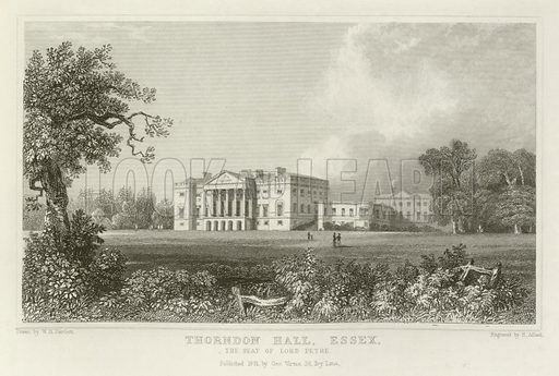 Thorndon Hall, Essex, the Seat of Lord Petre. Illustration for The County of Essex by Thomas Wright embellished with views from original drawings by William Bartlett (Virtue, 1835).
