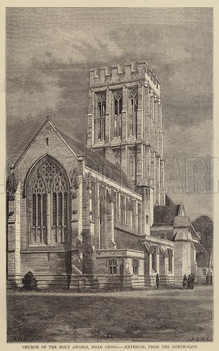 Church of the Holy Angels, Hoar Cross, Exterior, from the North-East. Illustration for The Builder, 6 January 1877.