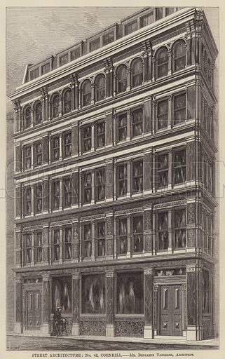 Street Architecture, No 42, Cornhill. Illustration for The Builder, 24 February 1877.