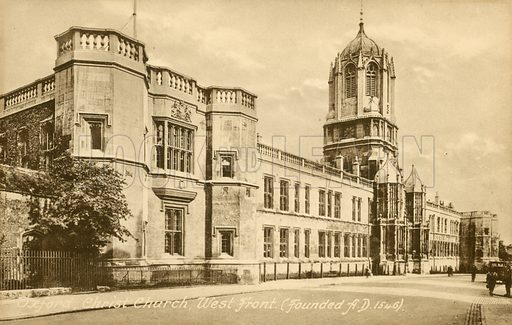 Oxford, Christ Church, West Front, founded AD 1546. Postcard, early 20th century.