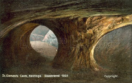 St Clements Caves, Hastings, discovered 1825. Postcard, early 20th century.