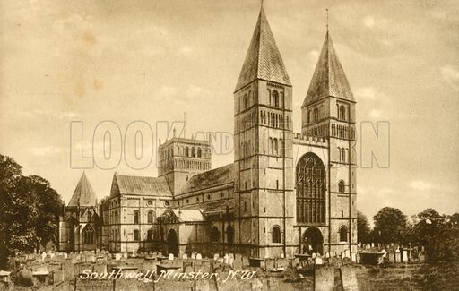 Southwell Minster, North West. Postcard, early 20th century.