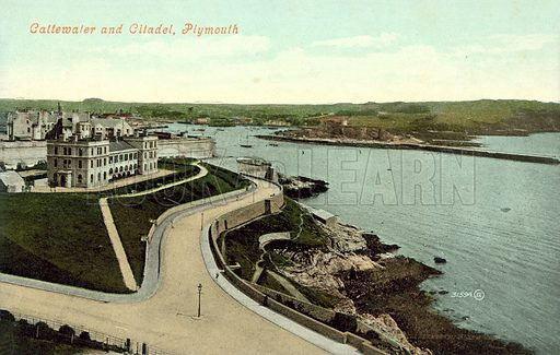Cattewater and Citadel, Plymouth. Postcard, early 20th century.