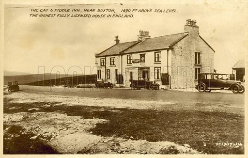 The Cat and Fiddle Inn, near Buxton, 1690 feet above Sea Level, the Highest Fully Licensed House in England. Postcard, early 20th century.