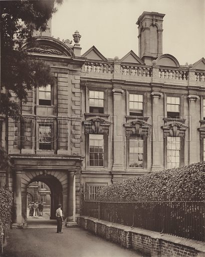 Clare College, Cambridge. Illustration for Later Renaissance Architecture in England by John Belcher and Mervyn E Macartney (Batsford, 1901). Magnificent photographs printed in gravure.