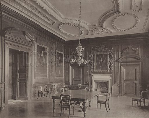 Belton House, Grantham, the Dining Room. Illustration for Later Renaissance Architecture in England by John Belcher and Mervyn E Macartney (Batsford, 1901).  Magnificent photographs printed in gravure.