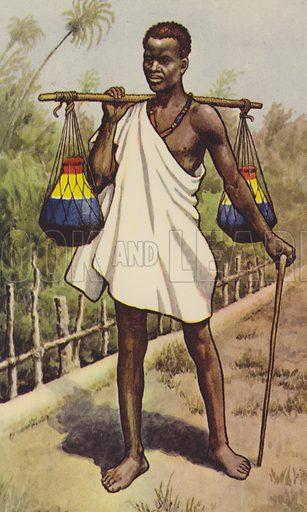 Uganda native carrying milk. Educational poster.
