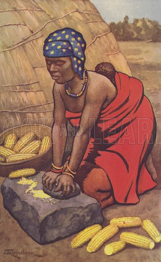 Woman grinding mealies. Educational poster.