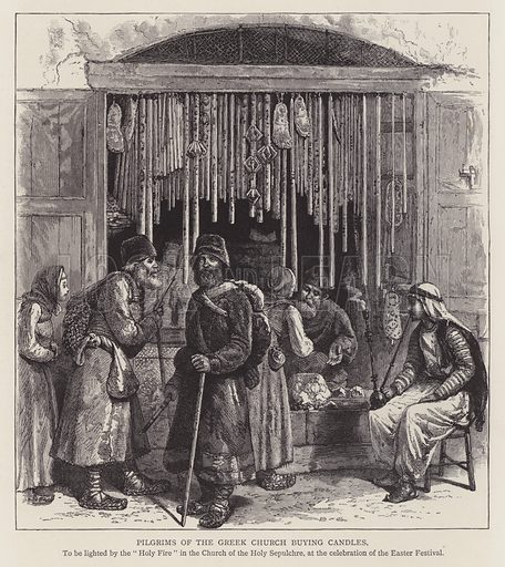 Pilgrims of the Greek church buying candles. Illustration for Picturesque Palestine edited by Sir Charles Wilson (Virtue, c 1880).