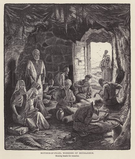 Mother-of-Pearl workers of Bethlehem. Illustration for Picturesque Palestine edited by Sir Charles Wilson (Virtue, c 1880).