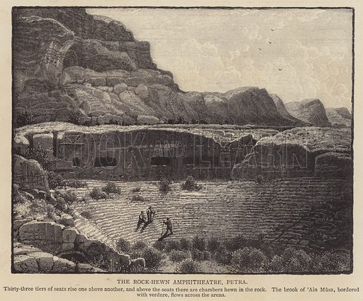The Rock-hewn Amphitheatre, Petra. Illustration for Picturesque Palestine edited by Sir Charles Wilson (Virtue, c 1880).